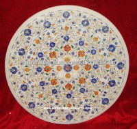 White Marble Micro Mosaic Table Top Pietre Dure Art