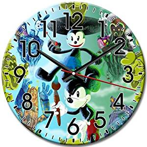 Quiet Disney Epic Mickey Frameless Customized Arabic Numbers Elegant Round Wall Clock 10 Inch / 25 cm Diameter