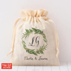 Promotional eco friendly natural color wedding favor gift pouch customized Wholesale Cotton Fabric Drawstring Bag