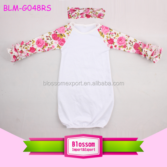 Knit Infant Newborn Baby Sleeping Gown Long Sleeve Icing Ruffle ...