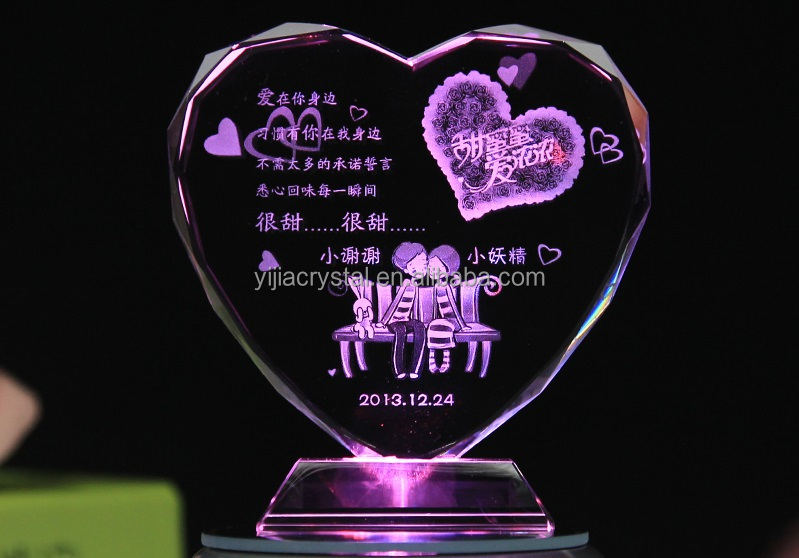 Personalized Custom Heart Shaped Crystal Valentine's Gift with Base and LED Light