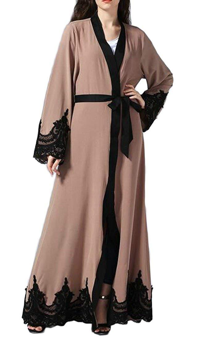 Fensajomon Women Lace Long Sleeve Muslim Middle East Loose Open Front Cardigan Robe Dress