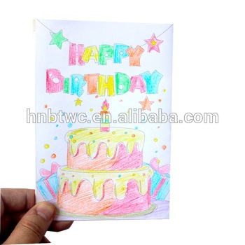 DIY Coloring 3D Pop Up Happy Birthday Greeting Card