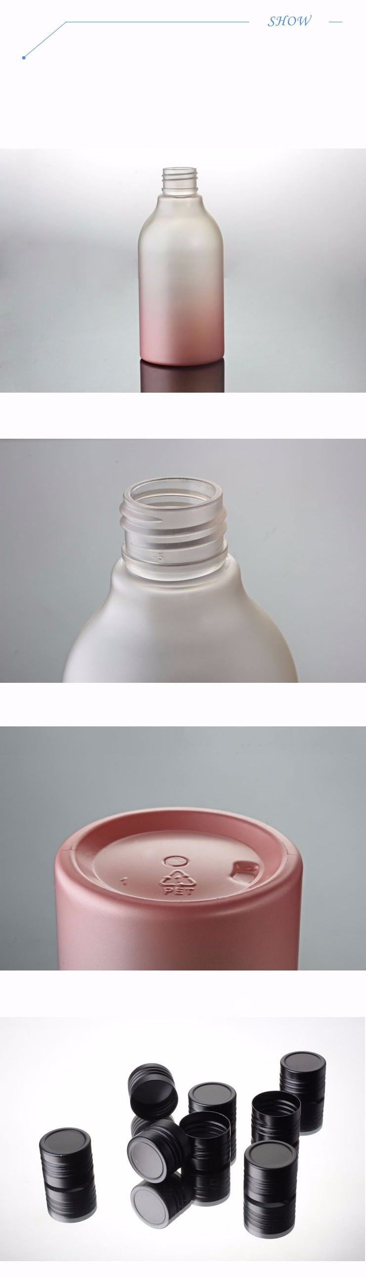 200 Ml Pembe Boyama Ve Siyah Ile Opak Plastik şişe Alüminyum Vidalı