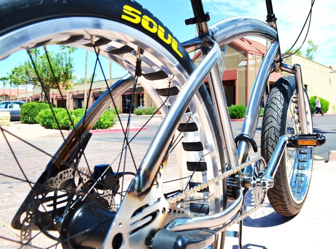 Fat Tire Beach Cruiser Bike - SOUL STOMPER - RAW frame-POLISHED rims 1S