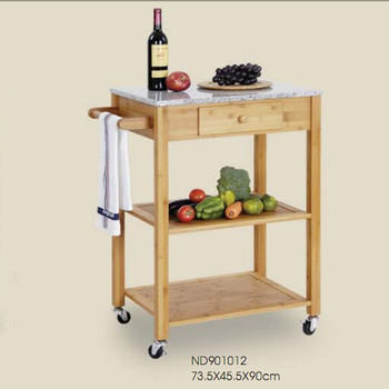 Kitchen Furniture Serving Cart With Marble Top Trolley