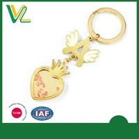 Customized angle letter metal heart shape keychain