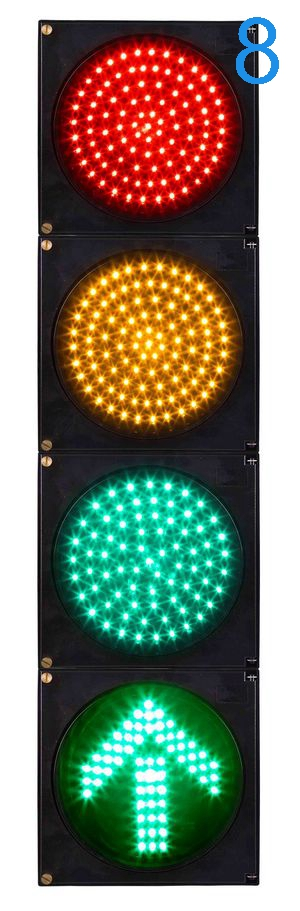 dia.200mm 8 inch LED traffic signal light 4 units red yellow green and one green arrow