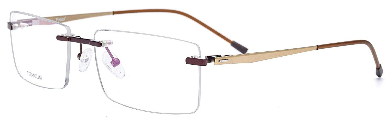 6b17cdaa1b2 Get Quotations · FONEX Titanium Alloy Rimless Square Glasses Frame  Prescription Eyeglasses 8828