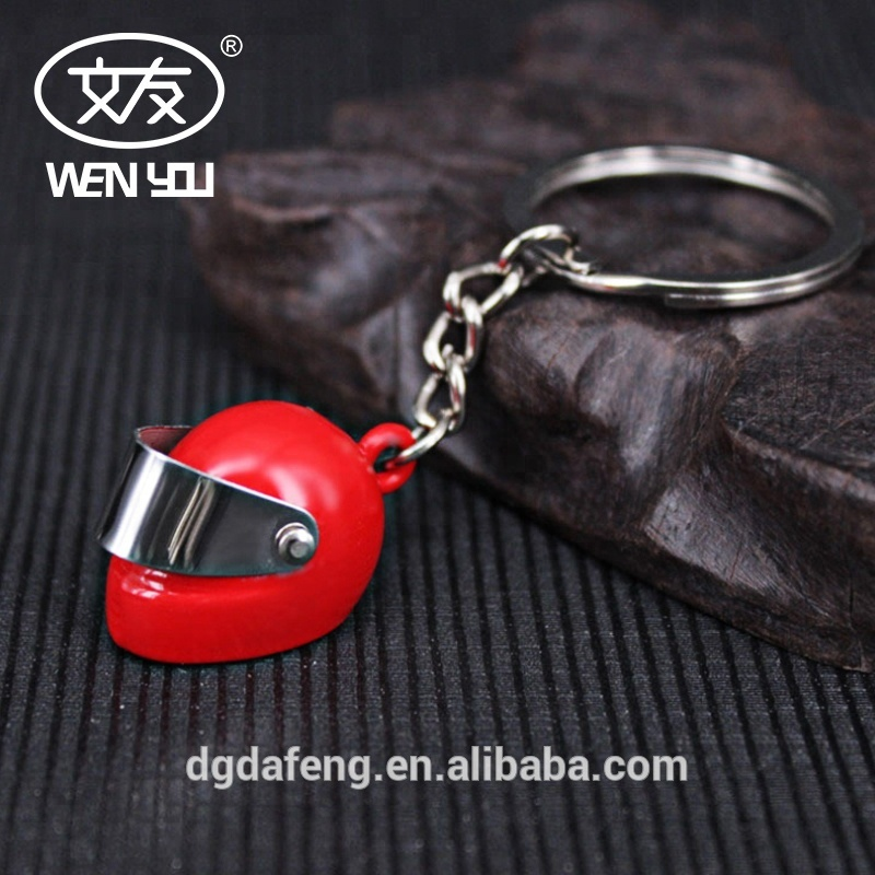 Sliver Plated Helmet 3D Custom Metal Split Ring Keychain Ring <strong>Key</strong> For Women Accessories