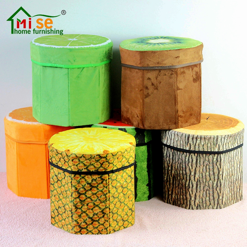 Folding Storage Organizer Ottoman Stool Cute 3d Creative