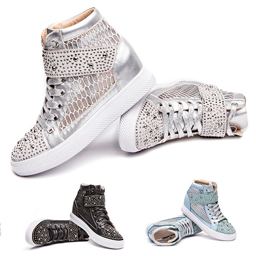 Women wedge sneaker Height increasing shoes rivets lace up genuine leather shoes for ladies Mesh breathable sneaker black silver