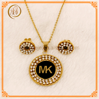 316L Stainless Steel Top Quality Ladies Gold Necklace Set Of Diamond Jewelry