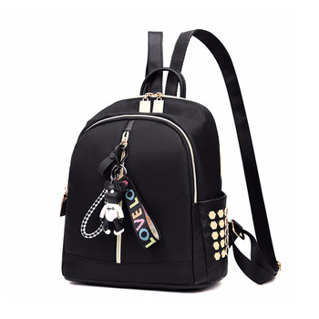 New Design Of Nylon Cute High School Book Y Backpack Black Quality Gril Bag Sports Pag With Headphoneblack