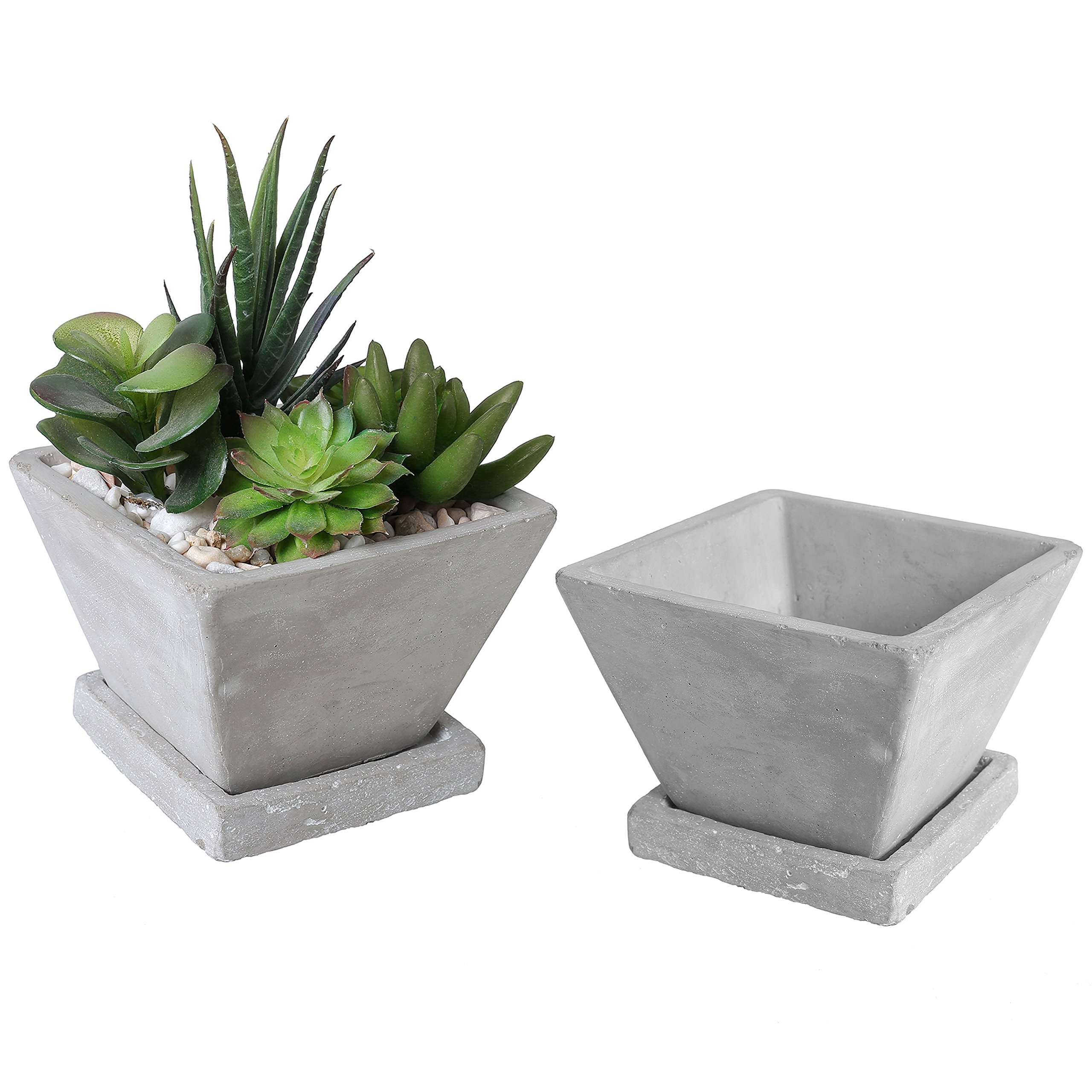 Trapezoid Shaped Clay Mini Succulent Planters, Cactus Pots with Square Saucers, Set of 2, Gray