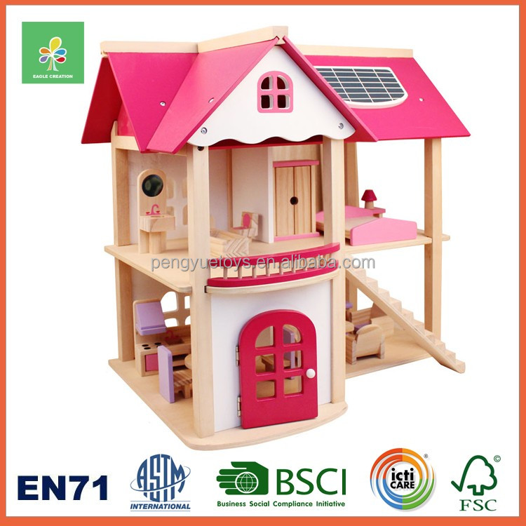 Pretend toys wooden miniature model house for kids