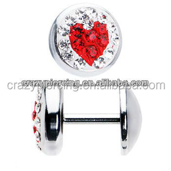 Cheap Wholesale Price Gauge Gem Red Heart Ear Piercing Studs Stainless Steel Jewelry Fake Ear Plug