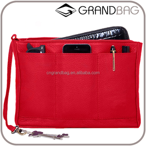 Plan Leather Purse Insert Organizer Multi-use Pockets Travel Bag in Bag Organizer Handbag clutch bag for ipad mini