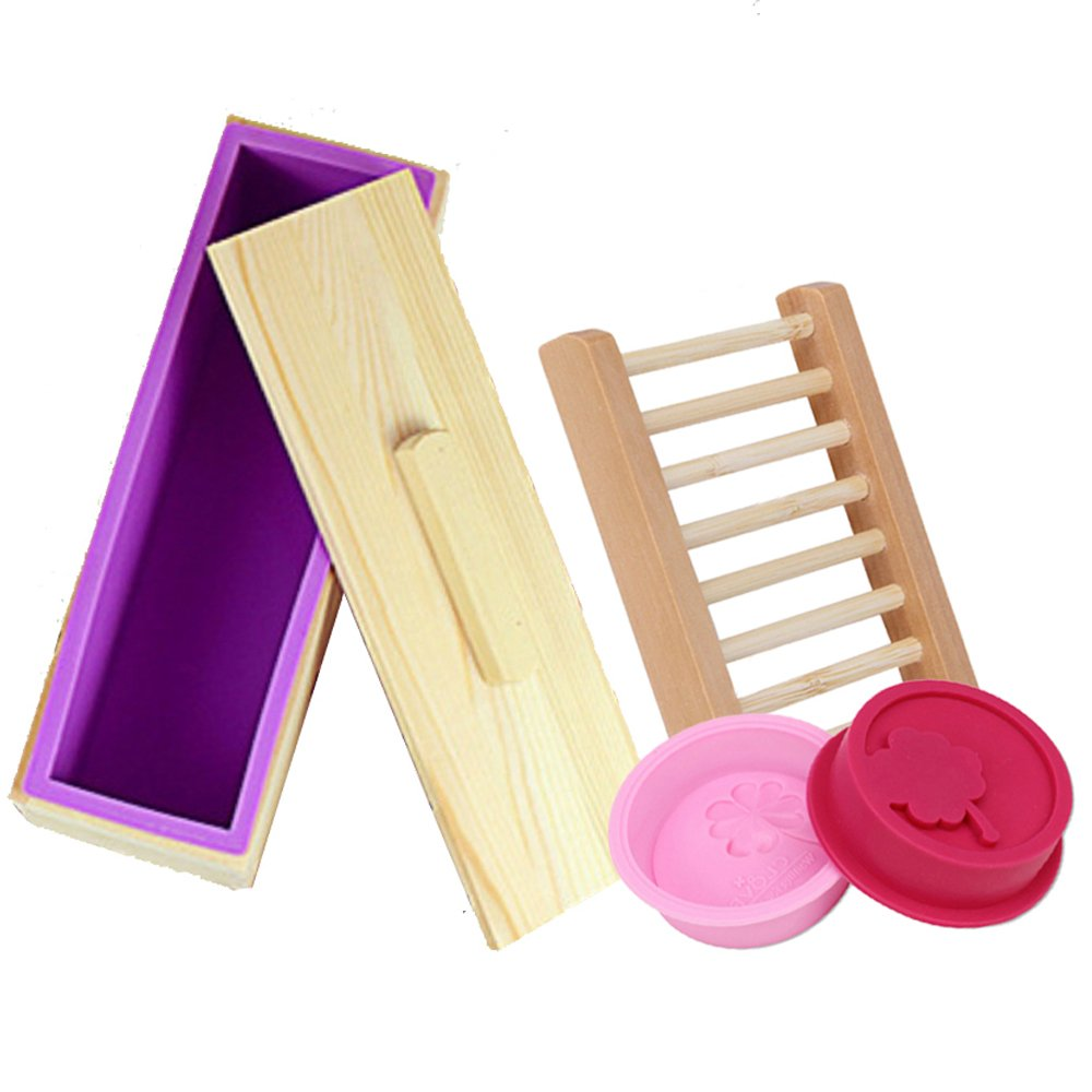 Get Quotations Cocode Flexible Rectangular Soap Silicone Mold With Wood Box And Lid For Homemade 42oz