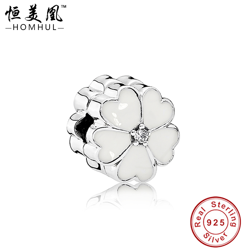 White Enameled Flower Authentic 925 Sterling Silver Lock Clip European Charm Stopper Beads For DIY Charm Jewelry