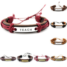 Love to Teach Charm Adjustable Mens Genuine Leather Wrap Bracelets for Women Teachers Wristband Jewelry Custom OEM ODM