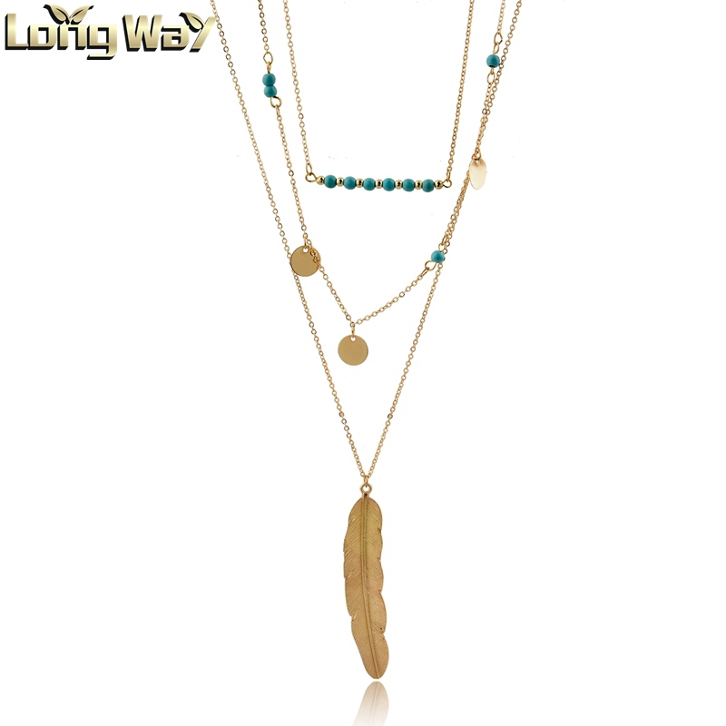 Boho Gold Color Long Feather Pendant Necklace Jewelry for Women Multilayer Chain Turquoise Stone and Long Strip Pendant