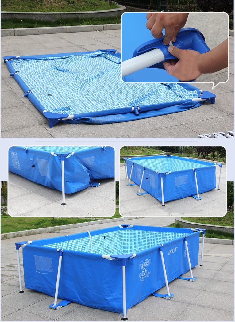Intex 28270 220cmx 150cmx60cm metal frame pool durable for Intex pool 150 cm tief