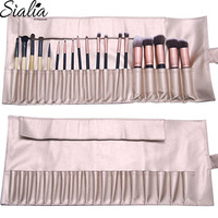 Gold Leather Natural Oem Pouch Wholesale Travel Canvas Cosmetic Bag Synthetic Hair Makeup Brush Set With Cylinder Case