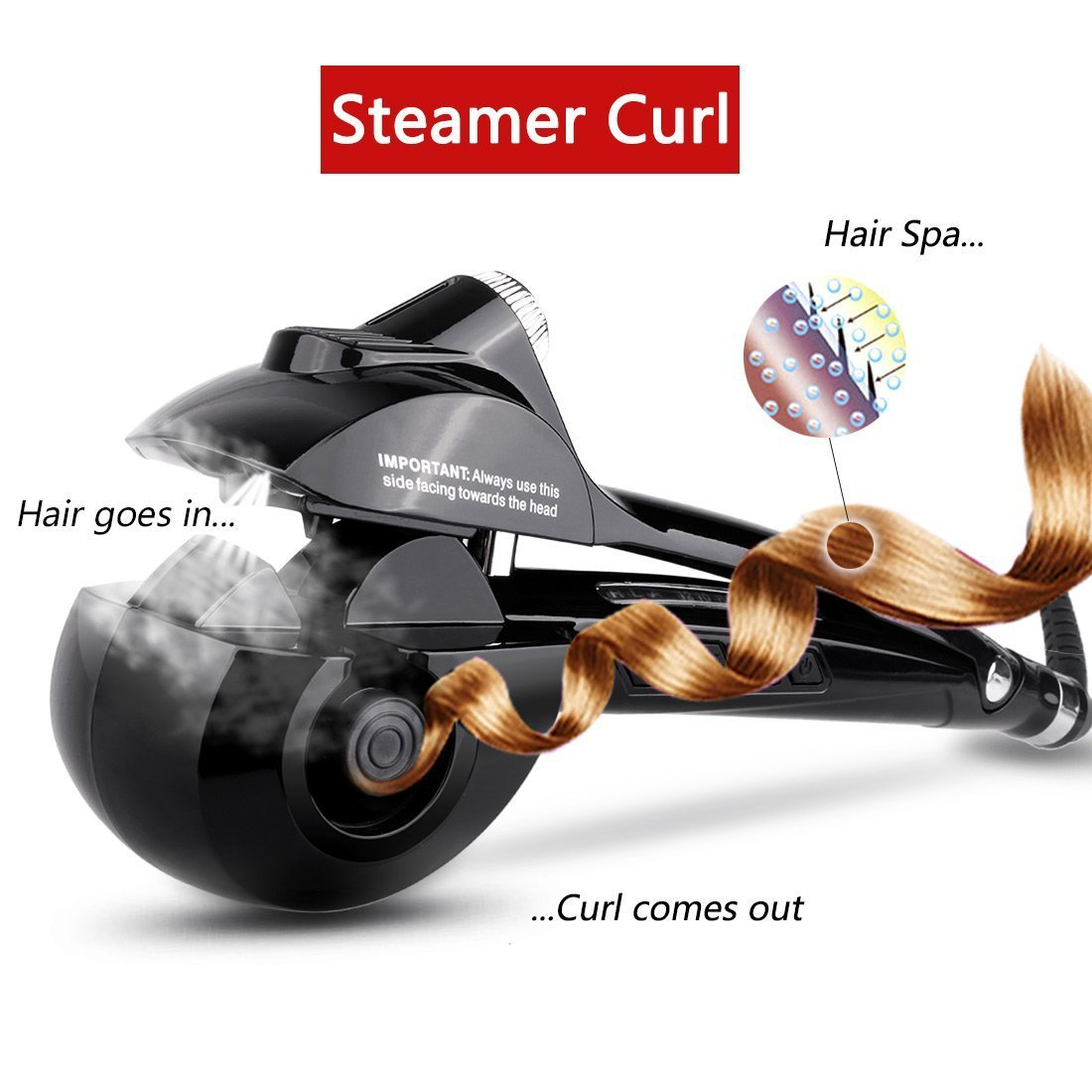 c1c2904987ff5 Get Quotations · Diglot Automatic Hair Steam Curler Ceramic Curling Iron  Professional Stylish Hair Curler Auto Steam Spray Hair