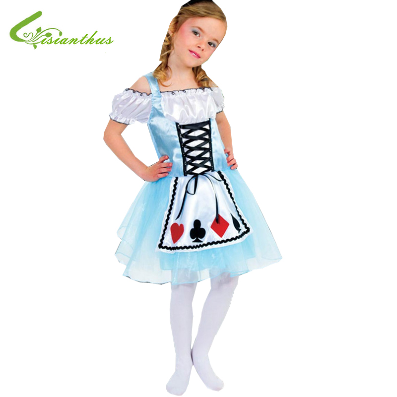 Girls Halloween Costumes Alice in Wonderland font b Dress b font Cosplay Stage Wear Clothing Sets