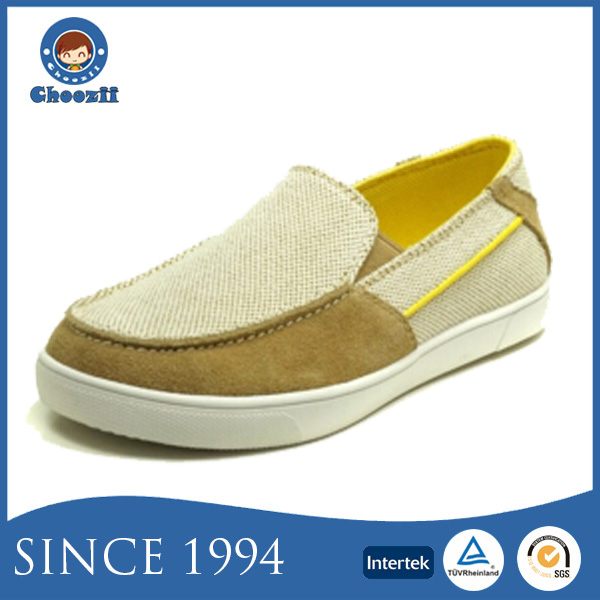 Wholesale Slip-on Kids Canvas Shoes with Breathable Textile Upper