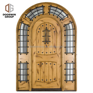 Solid Wood Frame Arched Top Design Knotty Alder Home Doors With Oemodm