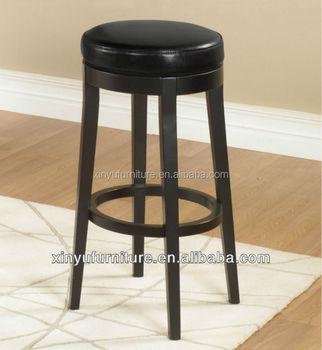 Round wooden black vinyl bar ottoman stool XYH