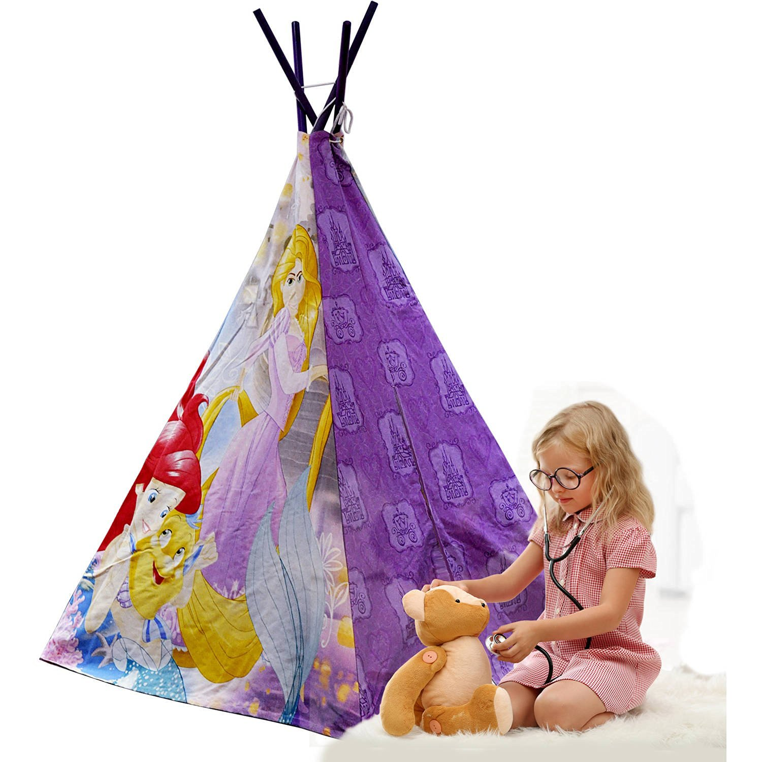 Adorable, Durable, 100 Percent Cotton Disney Princess Teepee Tent with Bonus Carry Bag, Purple
