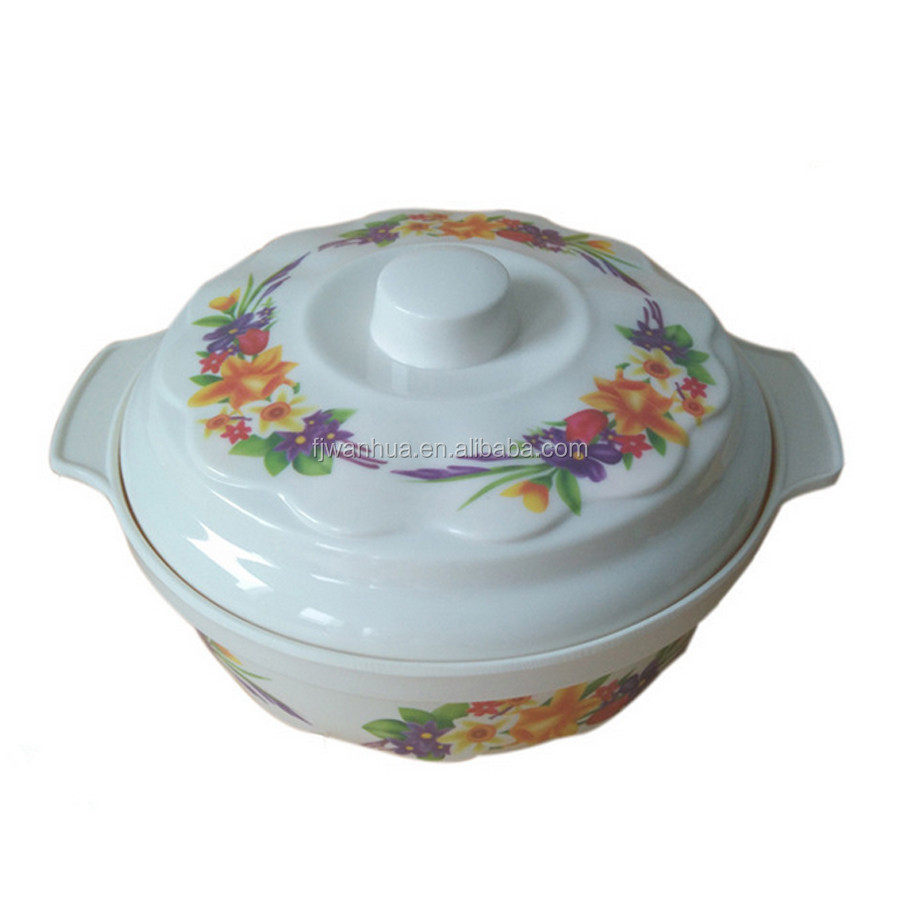 Plastic melamine soup bowl with two handle