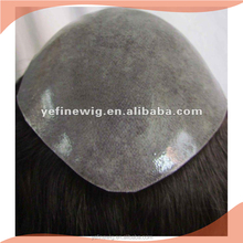 Full PU thin skin toupee inject silicon,Indian hair toupee mens wigs remy hair piece