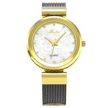 MISSFOX наручные часы для ношения с платьем для женщин Бренды Geneva женские часы женские браслет из нержавеющей стали модные женские золотые час...(China)