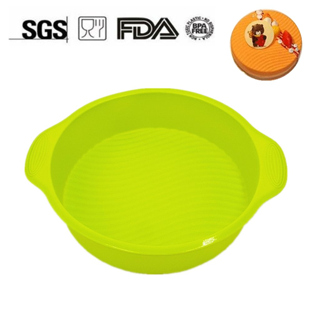 KuXun Eco-Friendly, BPA Free, 8.8 Inch Silicone Cake Pan, Food-grade Round Silicone Mold with Beautiful Wavy Line Design, Non-stick, 8.8 X 2.3 Inches (Green)
