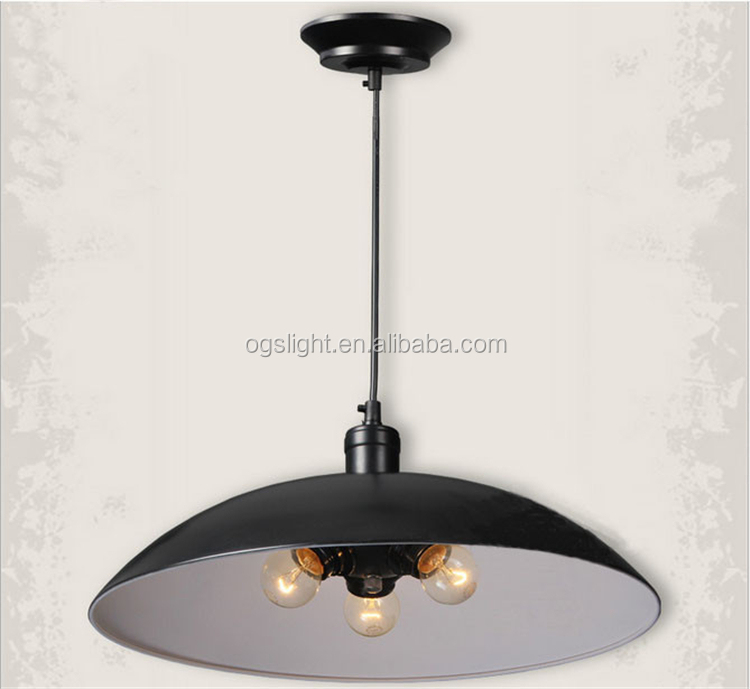 Vintage Loft Lighting Retro Black/White iron Shade Pendant Light