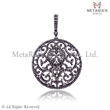 Pave diamond filigree handmade charm round design pendant jewelry pave diamond filigree handmade charm round design pendant jewelry aloadofball Choice Image