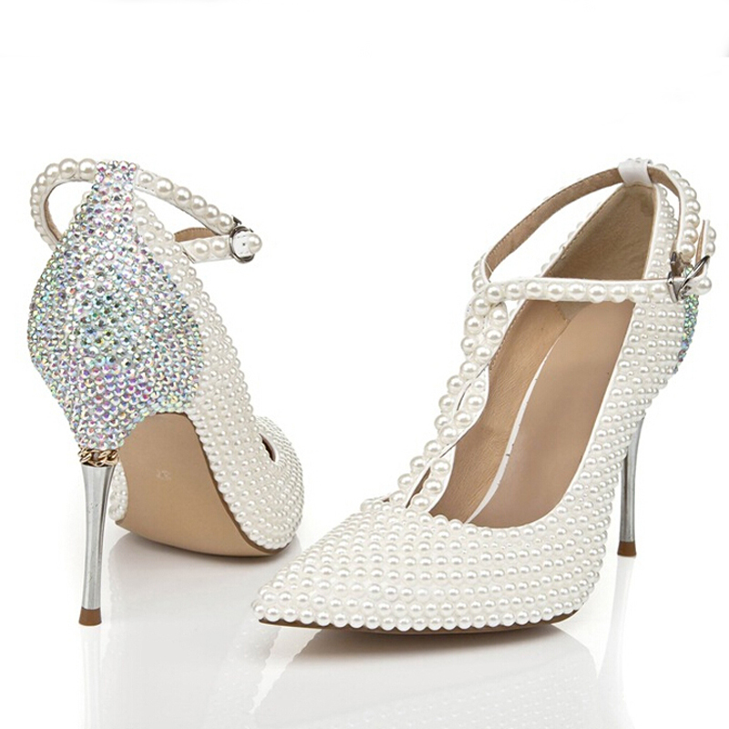 2015 T-strap Ivory Wedding Shoes with Rhinestone Pointed Toe Stiletto Heels Nightclub Club Shoes Wedding Party Prom Pumps