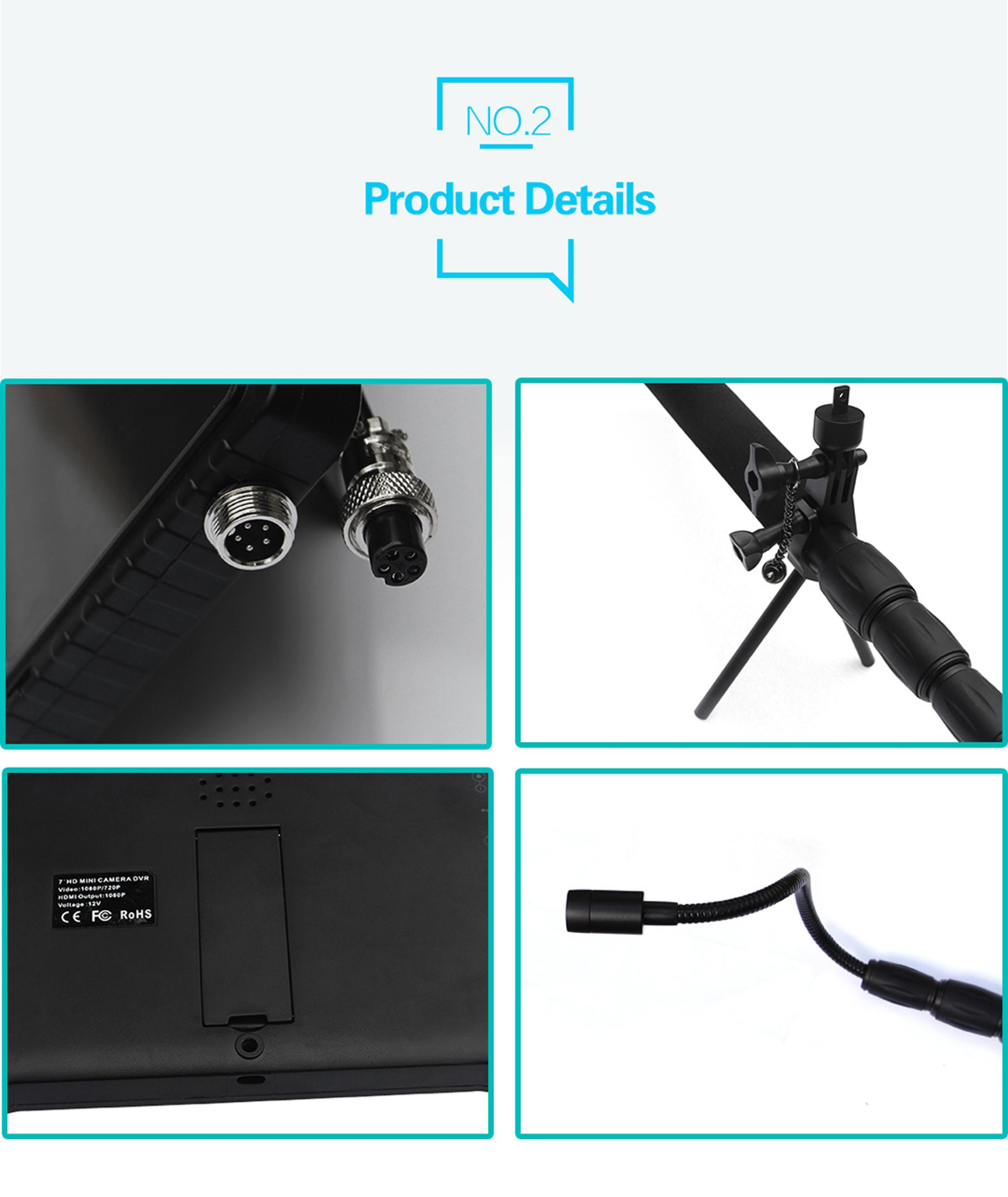 1080P HD portable under vehicle surveillance system UVSS with 2m telescopic pole