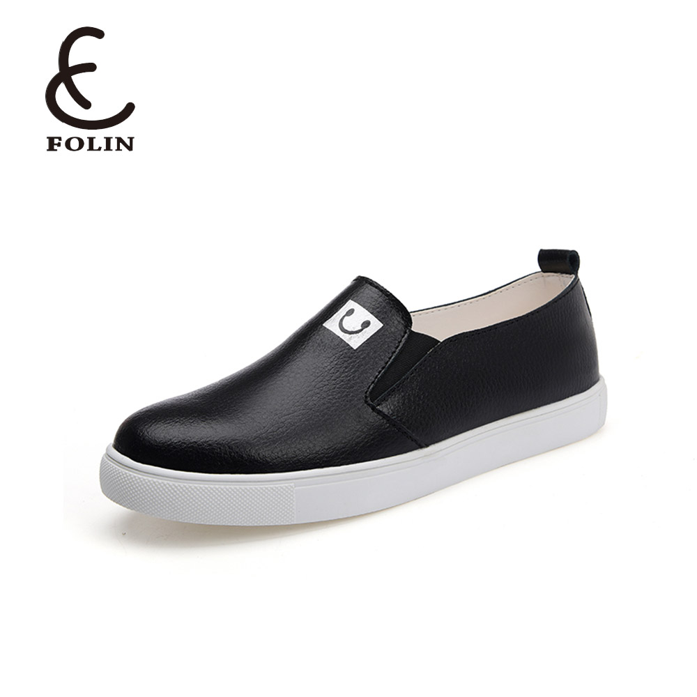 genuine leather sliver white school shoes girl easy slip on sneakers campus shoes lace up rubber sole leather flat ladies shoes
