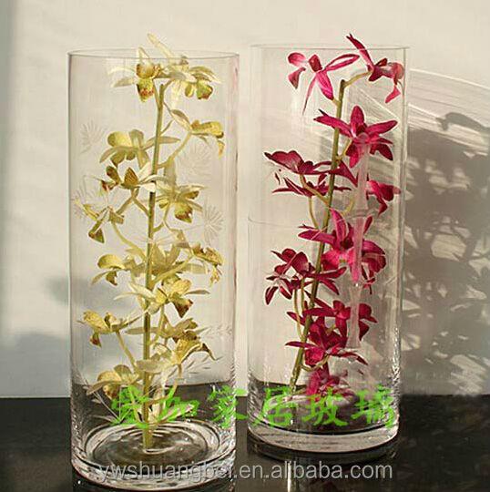Cilindro transparente forma floreros de cristal de la boda al por