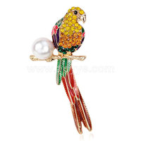 Most popular vintage style colorful rhinestone animal shape pearl parrot brooch