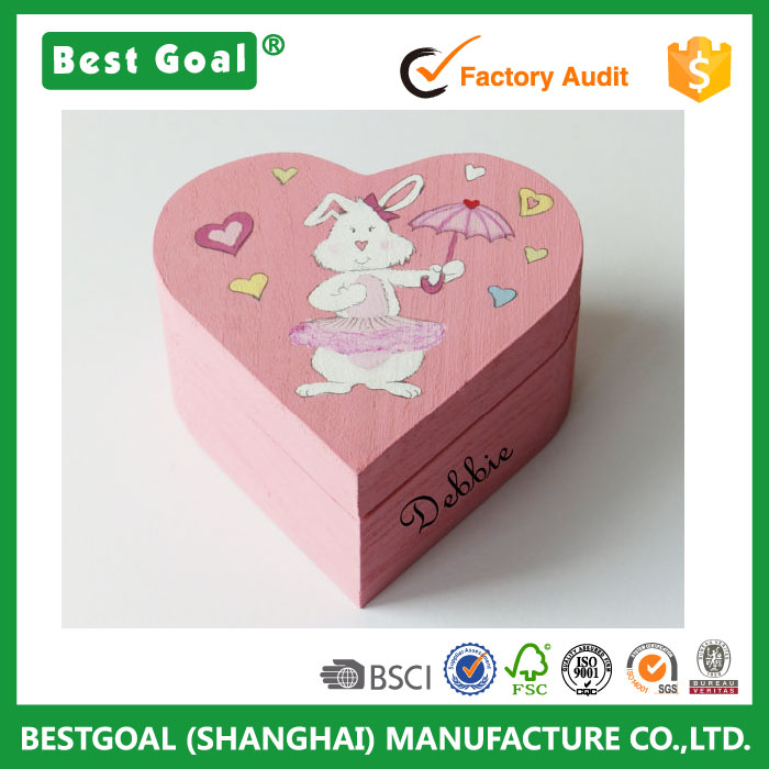 colorful painting heart shape wood box