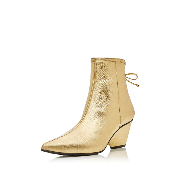 Luxury and elegant style gold color metallic leather pointed toe chunky heel women boots