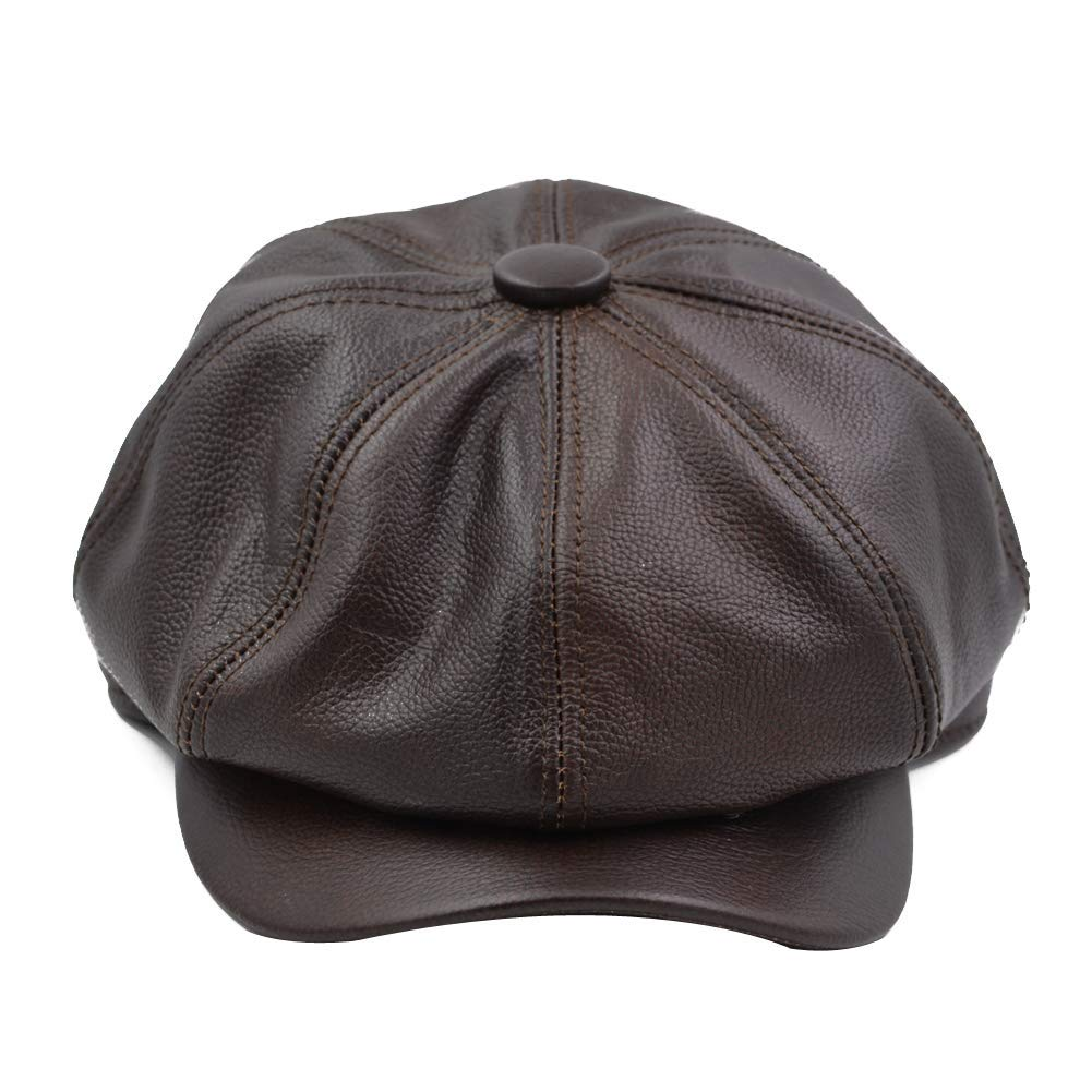 768adf89731 Get Quotations · Yosang Fashion Men s Leather Classic 8 Panel Gatsby  Newsboy IVY Hat