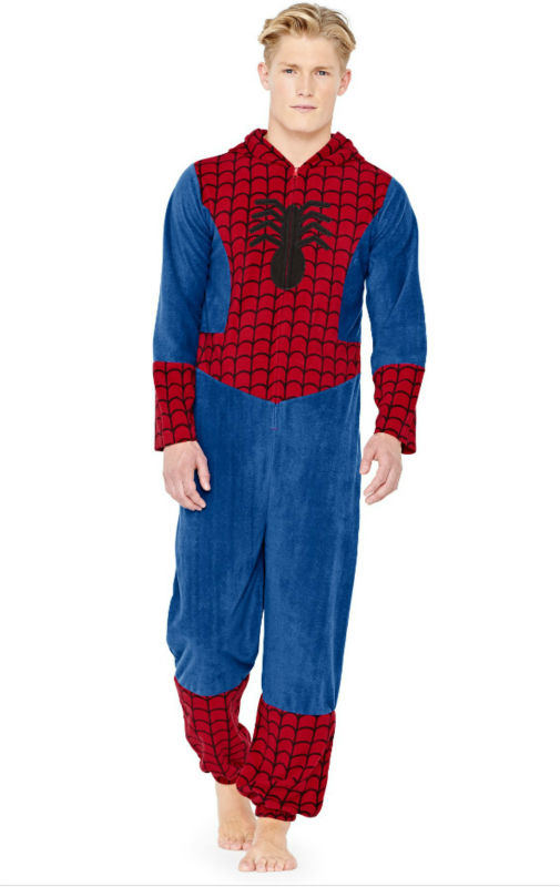 New Fashion Character Mens Spiderman All-in-one Onesie Pajamas ...