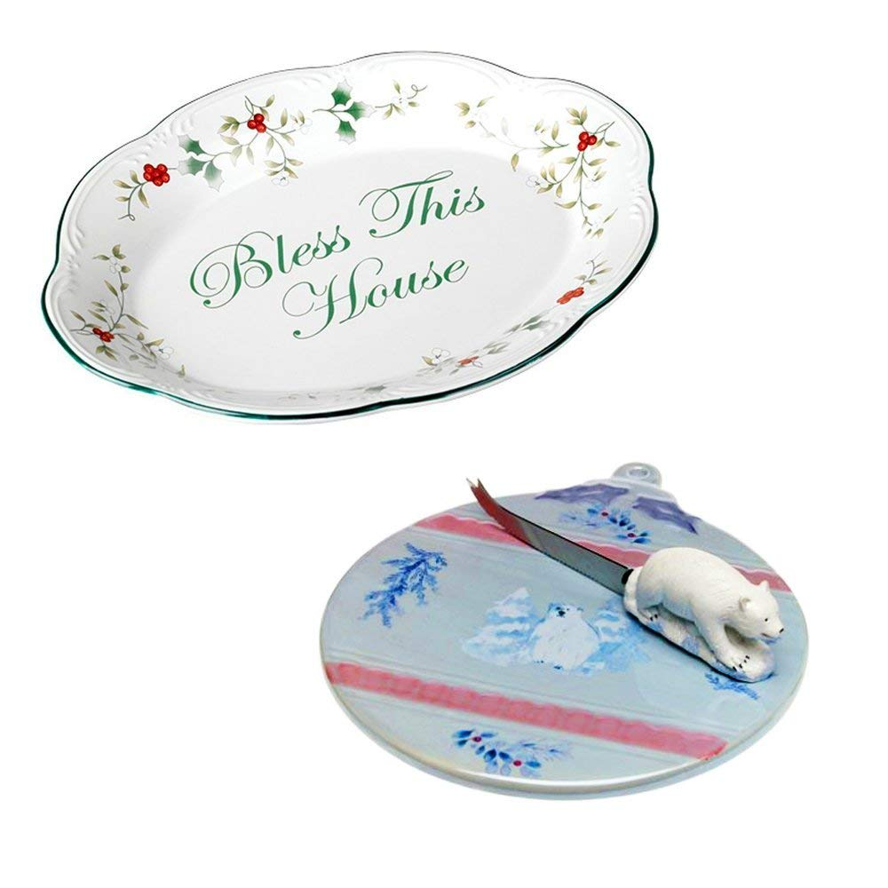Pfaltzgraff Winterberry Bless This House Plate & Winter Frost Cheese Tray Holiday Home Kitchen 2 Piece Gift Bundle